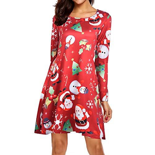 MRULIC Damen Blusenkleid Abendkleid Knielang Kleider Weihnachts Winterrock Festliches Kleid Mehrfarbig Verfügbar Schön Neujahr Herbst und Winter Kleid(B-Rot,EU-34/CN-S)