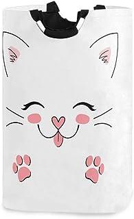 Kawaii Cat Kitty Panier à linge Panier Grand bac de rangement pour jouets avec poignées pour enfants Panier-cadeau Tissu i...
