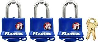 Master Lock 312TRIAU 40mm Wide Covered Laminated Steel Pin Tumbler Padlock, Blue