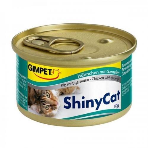 24 x Gimpet ShinyCat Hühnchen mit Garnelen 70g, Feinschmeckerpaste, Nassfutter
