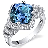 4.25 Carat Simulated Alexandrite Sterling Silver Tier Halo Ring Size 6