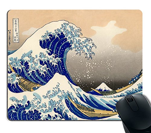 Smooffly Decorative Mouse Pad Art Print Painting Hokusai The Great Wave Rectangle Non-Slip Rubber Mousepad Gaming Mouse Pad