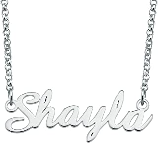 Custom Name Necklace 925 Sterling Silver Personalized Engraved Plate Pendant for Women Mom