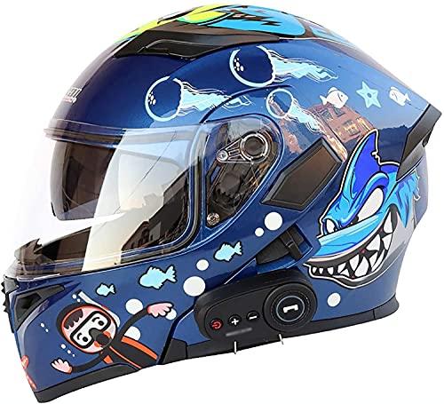 WANGFENG Cascos Bluetooth De La Motocicleta, Modular Flip Up Dual Visors Full Face Moto Scooter Cascos, Dot Aprobado Casco, Radio FM Integrada Sistema De Comunicación