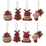 8Pcs Burlap Christmas Tree Ornaments, Rustic Vintage Decorations,Christmas Tree Decorations, Christmas Stocking, Ball, Tree, Bell Holiday Party Decor