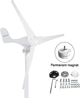PIKASOLA 400W Wind Turbine Generator AC 12Volt,3 Blades Windmill for Wind Solar Panels Hybrid System,2.5m/s Start Wind Speed, Windmill Generator with Controller for Hybrid Homes