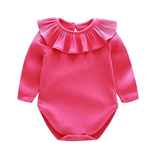 Wanshop Baby Romper Newborn Toddler Girls Cute Ruffled Long Sleeve Romper Bodysuit Sunsuits 3 6 Months Hot Pink