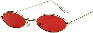 Gafas de sol ovaladas pequeñas retro Unisex, Barato Gafas de sol con montura de metal,Moda Gafas de viaje para hombres mujeres