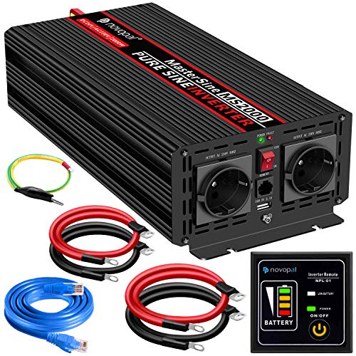 novopal Power Inverter Pure Sinusgolf-2000 Watt 24V DC naar 230V/240V AC Converter-2AC EU stopcontacten Auto-omvormer met een USB-poorten-5 meter afstandsbediening en twee koelventilatoren-Peak Power 4000 Watt
