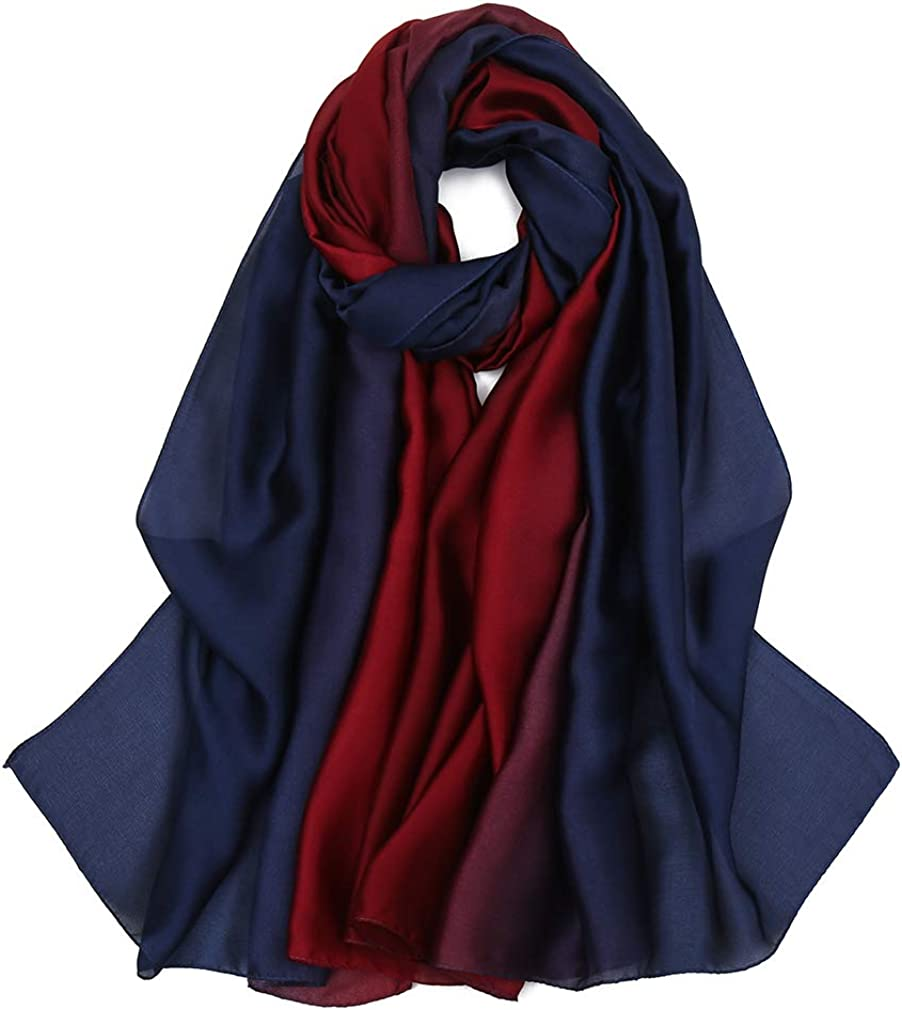 EVQ Women's Silk Scarves Lightweight Silky Scarfs Solid Color and Ombre Satin Scarf
