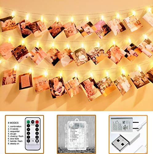 VNSG 40 LED Photo Clip String Lights for Bedroom Wall Decor┃Battery or Plug In┃Fairy Lights to Hang Pictures Christmas Cards, Wedding Photos┃20ft Soft White┃Photo Lights with Clips for Picture Hanging