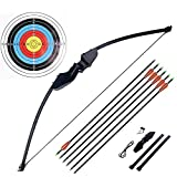 Ationgle Archery Recurve Bow Set - 30 lbs Draw Weight Bow Set with Wooden Riser and Fiberglass Limbs for Right Handed Adults or Beginners, Includes 6 Arrows and 6 Target Faces…