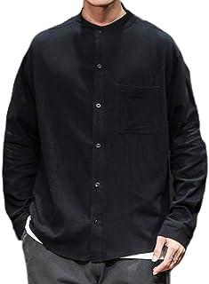 keepmore Camicie da Uomo Retro Colletto alla Coreana Camicie a Maniche Lunghe Larghe in Tinta Unita
