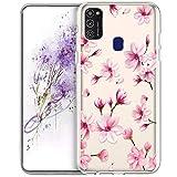 JAWSEU Custodia Compatibile con Samsung Galaxy M21,Cover Trasparente in Silicone Morbido c...