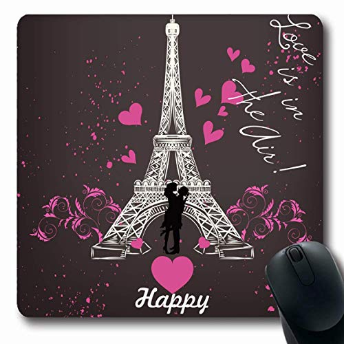 Mausemat Liebe Einladung Gruß Valentinstag Künstlerische Eiffelturm Texturen Feiertage Stilisierte Zeichnung Gedruckte Mousepad Oblong 25X30Cm Mausmatte Büro Rutschfeste Gummi Com