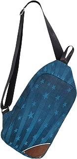 Mens Crossbody bag American Football Flag Chest Backpack for Travel Hiking