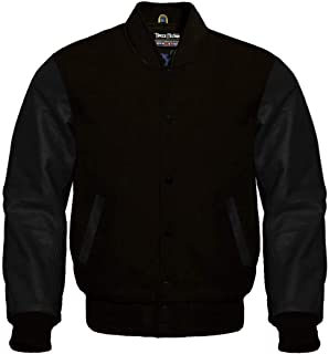 Varsity Letterman Baseball Black Wool and Genuine Black Leather Sleeves Jacket
