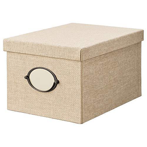 IKEA KVARNVIK caja de almacenaje con tapa 25x20 cm beige