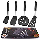 GEEKHOM Silicone Spatula, 600 Degree Heat Resistant BPA Free Non Toxic Rubber Spatulas Set for Non Stick Cookware, Large Flexible Heavy Duty Turner for Cooking Flipping Fish Pancake Eggs - 4 Pack, XL