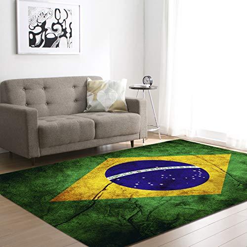 DRTWE Alfombra de Terciopelo Suave Brasil Bandera Nacional Alfombra Impresa para la Sala de Estar decoración Pasillo Pasillo Antideslizante Zona Alfombra niños vivero Juego Mate,122 * 183CM