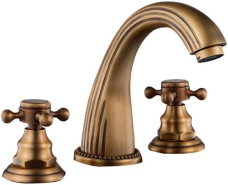 ZJGZDCP Waschtischarmaturen Basin Tap Badarmatur Wasserhahn Becken Bathroom Sink Europischer Stil Unabhngiges Design Messing Antik Doppelter Griff (Farbe   braun, Größe   B)