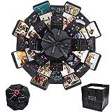 CODIRATO Caja de Explosión Negra, DIY Álbum de Fotos Plegable Caja de Regalo Creative para San Valentín, Aniversario, Boda, Cumpleaños