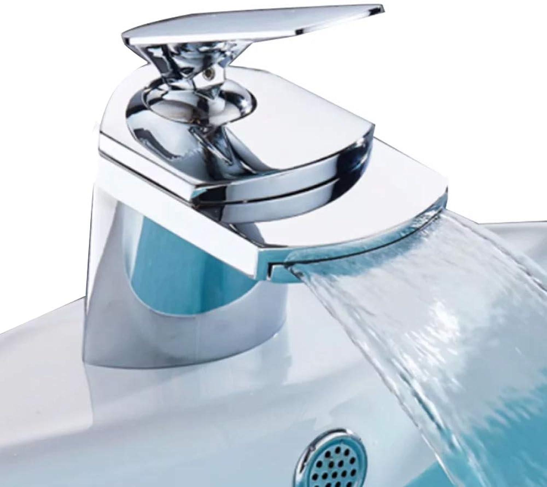 Copper Hot And Cold Basin Faucet Single Hole Bathroom Wash Basin Basin Basin Faucet Waterfall Faucet