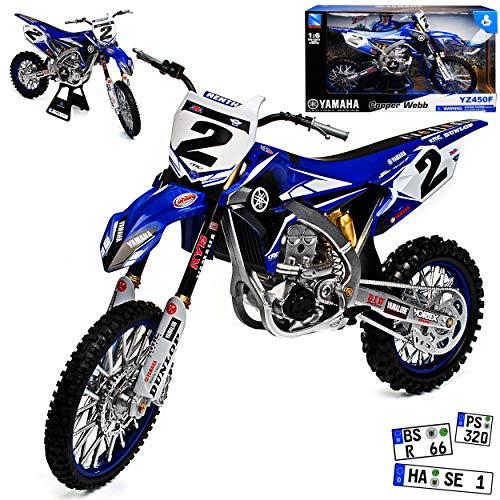 New Ray Yamaha YZF 450 JGR 2017 Cooper Webb Blau Supercross-WM Enduro 1/6 Modell Motorrad