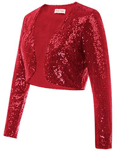 Belle Poque Women's 1920s Flapper Dresses Shrugs Sequin Christmas Long Sleeve Cardigan Bolero Jacket (Red,M)