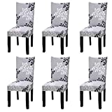 Fuloon 6 Pack Super Fit Stretch Removable Washable Short Dining Chair Protector Cover Seat Slipcover for Hotel,Dining Room,Ceremony,Banquet Wedding Party (Gray Pattern)