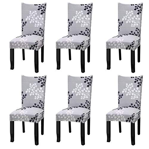 Fuloon 6 Pack Super Fit Stretch Removable Washable Short Dining Chair Protector Cover Seat Slipcover...