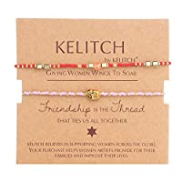 KELITCH 新しい2 PCナチュラルパールビーズ友情ブレスレット手織りブレスレットレディーチャームブレスレット