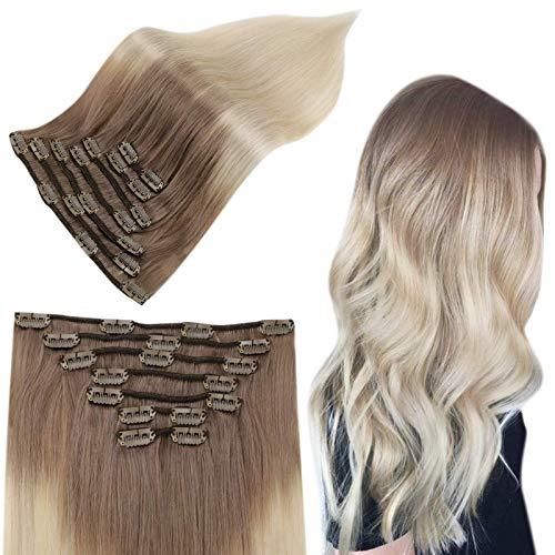 Easyouth Rajout Humain Extensions Cheveux Naturel Clips Vrais Humain Cheveux Couleur Brun Moyen Mixte Blonde Jaune Clip in Hair Extensions Remy Human Hair 22 pouces 7 Pcs 100g