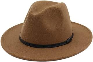 SODIAL Hat for Women Wool Felt Wide Brim Hat Vintage Jazz Hat Couple Cap Winter Khaki