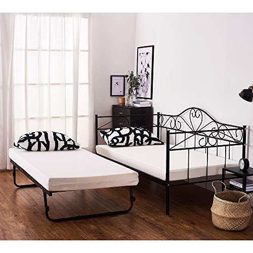 2 Styles Metal Bed Frame Day Bed 3ft Single Sofa Guest Bed Black/White New (Style2 Daybed+Trundle, Black)