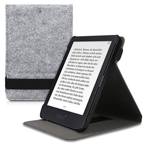 kwmobile Tolino Shine 3 Hülle - Schlaufe Ständer - e-Reader Schutzhülle für Tolino Shine 3 - Filz Design Hellgrau