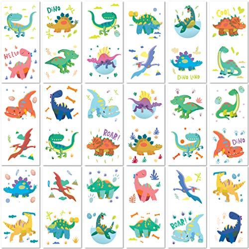 PapaKit Party Dinosaurs 36 Temporary Fake Tattoo Set, 18 Individually Wrapped Sheets   Kids Girls & Boys Birthday Party Favor Gift Reward, Non-Toxic Food Grade Ingredients Safe Removable