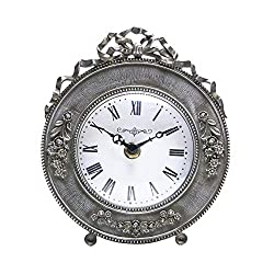 NIKKY HOME Vintage Table Clock, Decor Battery Operated Quartz Desk Clock 5.9'' by 2.4'' by 6.9''