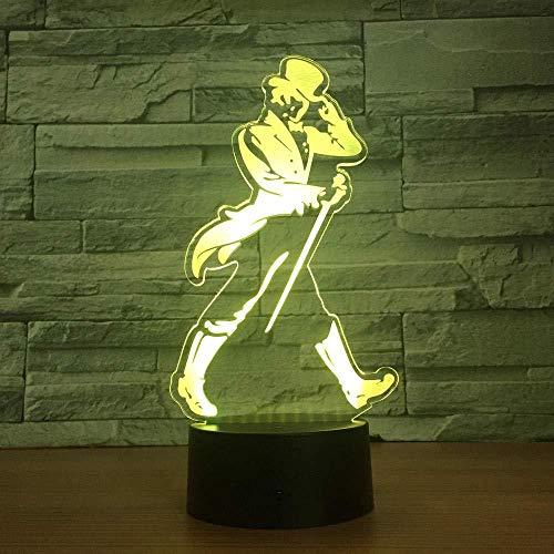 YOUPING Lámpara de ilusión 3D led luz nocturna decorativa colorido toque control remoto decoraciones de Navidad regalo para la habitación del bebé