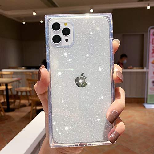 Tzomsze - Funda para iPhone 12/iPhone 12 Pro (6,1 pulgadas), diseño de brillantes y cuadrados, transparente