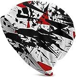 Whecom Cool Geometric Splash Slouchy Mütze Winter Skull Cap für Männer Frauen Geschenke Schwarz