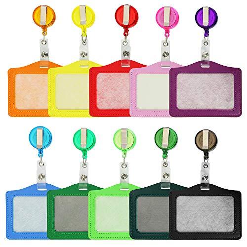 CODIRATO 10 Stück Ausweishülle Ausweishalter aus PU Leder, ID Badge Holder Kartenhalter JoJo mit Clips für ID Cards(10 Farbe)
