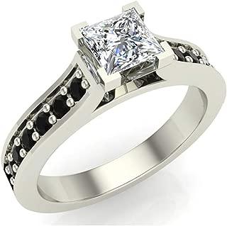 Black & White Princess Cut Engagement Ring 3/4 Carat Total Weight Diamond 14K Gold (G,I1)