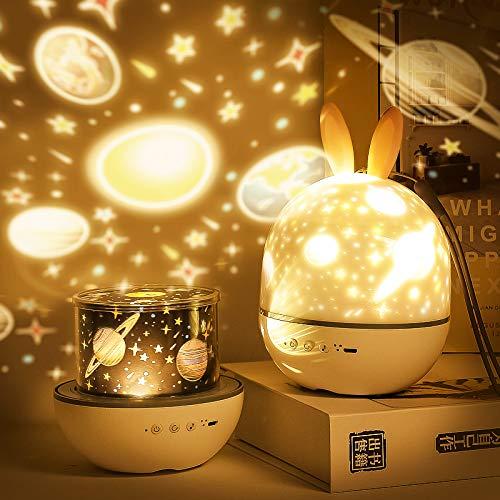 Proyector de luz estrellada con control remoto Lámpara de proyección de conejito lindo SYOSIN con temporizador giratorio y 8 lámparas de canción integradas regalos de carga USB para niño y niña (gris)
