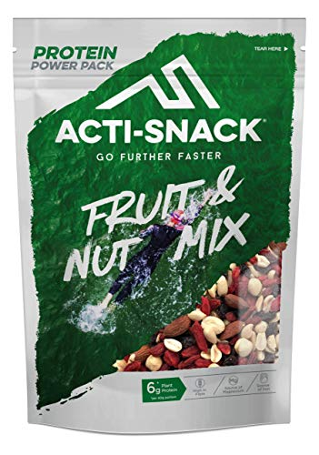 ACTI-SNACK Fruit & Nut Mix Powerpack. Sports Nutrition Snacks. Roasted Almonds, Hazelnuts, Peanuts, Raisins and Goji Berries. High in Plant Protein. Vegan. 12 x 200g