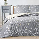 Bedsure Bettwäsche 135X200 Mikrofaser 2 teilig - grau Bettbezug Set mit schickem Zweige Muster, weiche Flauschige Bettbezüge mit Reißverschluss und 1 mal 80x80cm Kissenbezug