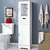 amzdeal Bathroom Storage Cabinet 15.7'' L x 11.8''W x 66.9''H, Tall Cabinet with Doors and Shelves, Freestanding Linen Tower for Bathroom,Living Room.