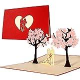 Partecipazioni matrimonio 3d eleganti, inviti matrimonio intagliati in cartoncino, biglietto matrimonio originale per sposi rosa, biglietto nozze pop up, L10