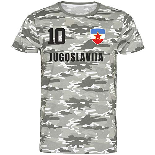 Nation Jugoslawien T-Shirt Camouflage Trikot Style Nummer 10 Army (XL)