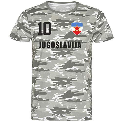 Nation Jugoslawien T-Shirt Camouflage Trikot Style Nummer 10 Army (XXL)